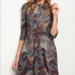 Beautiful 3/4 Sleeve Multicolor Dress